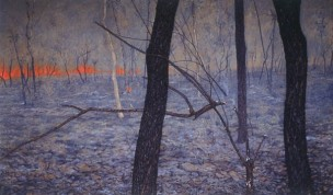 Falling branch, grassfire. 1994-97. Oil on linen, 138x228cm