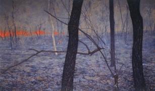 Falling branch, grassfire. 1994-97. Oil on linen, 138x228cm