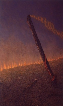 Falling tree, grassfire . 1994-97. Oil on linen, 228x136cm.