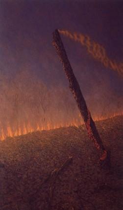Falling tree, grassfire . 1994-97. Oil on linen, 228x136cm.