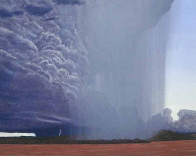 Rainstorms, Wyndham . 1994-97. Oil on linen, 1830x2280mm. Collection - Perc Tucker Regional Gallery, Queensland.