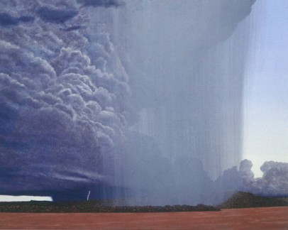 Rainstorms, Wyndham . 1994-97. Oil on linen, 1830x2280mm. Collection - Perc Tucker Regional Gallery, Queensland.