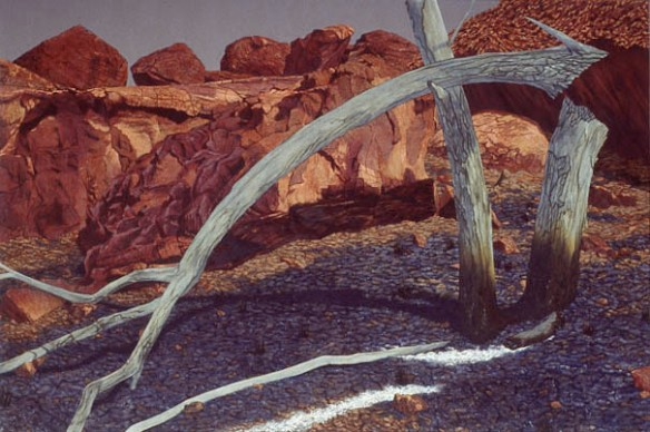 Arched tree, rockfall. 1992-97. Oil on linen. 153x228cm.