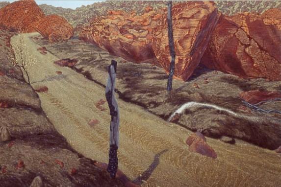 Dry Creek, rockfall . 1992-96. Oil on linen. 152x228cm.