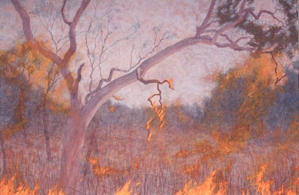 Grassfire, burning branch. 1994 - 97. Oil on linen, 152x228 cm.