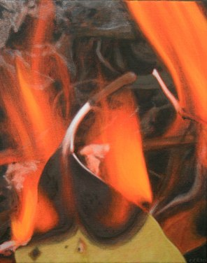 October – burning leaf 1, [Stringybark], 25x20com, oil on cotton