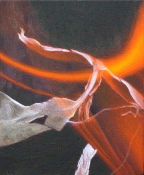October – burning leaf 2, 28x23cm, [Stringybark], oil on cotton
