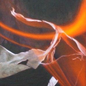 October – burning leaf 2, 28x23cm, [Stringybark], oil on cotton
