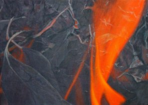 October – burning leaves, 40x56cm, [Stringybark], oil on linen