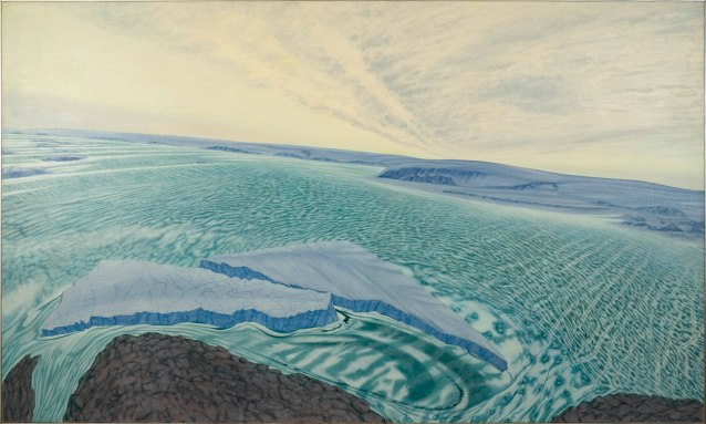 Flying into Mawson, 1990. Oil on linen. 1370x2290mm