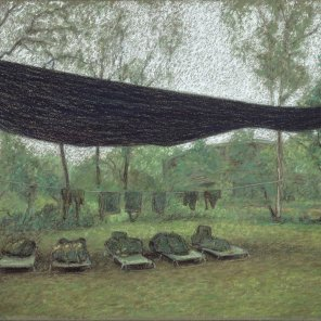 Norforce campsite, Murganella, 2001, Pastel on MI-Tientes paper