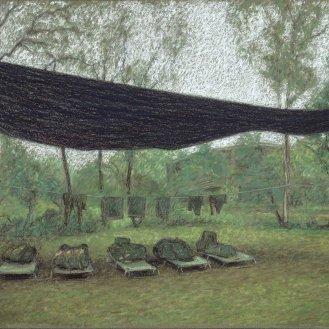 Norforce campsite, Murganella, 2001, Pastel on MI-Tientes paper