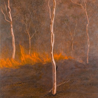 Three white trees and fireline, 2007 Dimensions: 153x137 cm Acrylic on linen