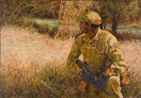 Soldier on patrol, 2008. Oil on canvas, 38x54cm