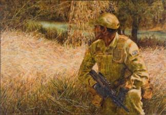 Soldier on patrol, 2008. Oil on canvas, 38x54cm