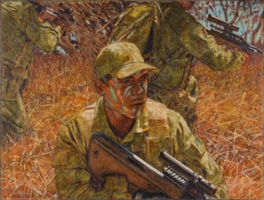 Three soldiers on patrol, 2008. Oil on canvas, 38x50cm