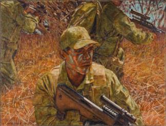 Three soldiers on patrol, 2008. Oil on canvas, 38x50cm