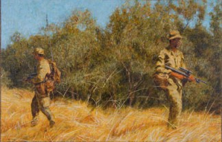 Two soldiers on patrol, river bank, 2008. Oil on canvas, 37x57cm