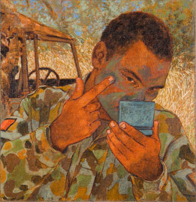 Soldier applying camouflage paint, 2008. Oil on canvas, 32x30cm